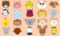 Cute animals faces icons vector collection various of colorful Royalty Free Stock Photos