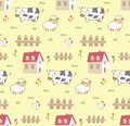 Cute animals in the farm seamless background with cow, sheep and chicken