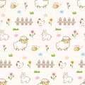 Cute animals in the farm seamless background