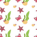 Cute animals in flat style - crab, starfish, shell.