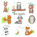 Cute Wild Animals Eating Food Vector Icon Set
