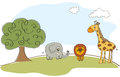 Cute animals in the forest vector illustration Royalty Free Stock Photography