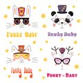 Cute animals in funky hats and glasses