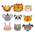 Cute animals with funny accessories. Cat, lion, panda, dog, tiger, deer, bunny, mouse and bear. Cartoon zoo. Set of hand drawn smi