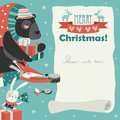 Cute animals giving presents