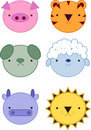 Cute animals icons Stock Image