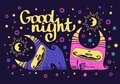 Cute animals. kawaii monsters with horns. girl and boy monsters on a background of the starry sky. wish good night. Sun and moon. Royalty Free Stock Photo
