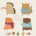 Cute animals living in the forest cute vector set with Royalty Free Stock Image