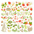 Cute animals on magic forest vector design. Cartoon rabbit and hedgehog illustrations for baby on light background