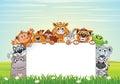 Cute Animals on Nature. Vector Cartoon Background