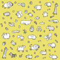 Cute animals objects set xl black white illustration eps mode Royalty Free Stock Images