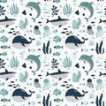 Cute animals of the ocean, marine mammals, dolphin and whale, seamless pattern, cartoon vector illustration