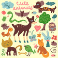 Cute animals random set of elements little Stock Photos