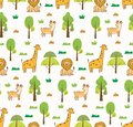 stock image of  Cute animals seamless background with lion, giraffe and deer