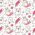 Cute animals seamless pattern in kawaii doodle style vector illustration
