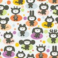 Cute animals seamless pattern vector textured illustration Royalty Free Stock Photos