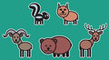 Cute animals set � illustration from typical north american Royalty Free Stock Photo