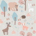 Cute animals set of forest in cartoon style bear rabbit hedgehog fox elk birds Stock Photos