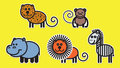 Cute animals set illustration from famous african Stock Photo