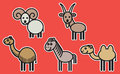 Cute animals set illustration from typical domestic cloven hoofed Royalty Free Stock Image