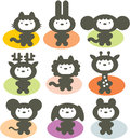Cute animals set vector illustration Royalty Free Stock Photos