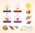 Cute animals in space ships kids design elements set Royalty Free Stock Photo