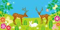 Cute animals in spring field eps this illustration contains transparency effect Royalty Free Stock Photo