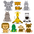 Cute animals vector set a of cartoon wild Stock Image