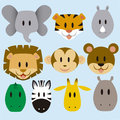 Cute animals vector set a of cartoon wild Stock Images