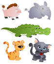 Cute animals vectors cartoon wild characters vector set Stock Image