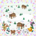 Cute animals, winter landscape, Christmas color illustration Royalty Free Stock Photo