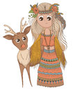 Cute anime girl in ethnic clothes with deer. Cartoon character in boho style.