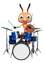 Cute ant cartoon character with drum d rendered illustration of Stock Photos