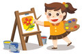Cute artist girl painting flower on canvas.