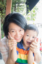 Cute asian boy and his aunt stock photo Stock Photo
