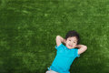 Cute asian child lying Royalty Free Stock Photo
