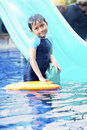 Cute Asian Kid Posing at Swimming Pool Royalty Free Stock Photo