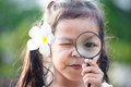 Cute asian little child girl looking through a magnifying glass Royalty Free Stock Photo