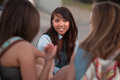 Cute Asian Student with Friends Outside Royalty Free Stock Photos
