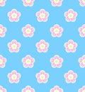 Cute asian style sakura, cherry blossom seamless pattern on blue background