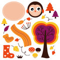 Cute autumn cartoon collection beautiful colorful design elements vector illustration Stock Photos