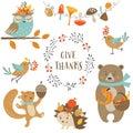 Cute Autumn Forest Animals