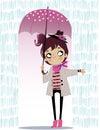 Cute autumn girl with umbrella