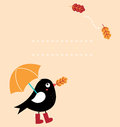 Cute autumn greeting card with fallen leaves and black bird with copy space vector illustration Royalty Free Stock Photos