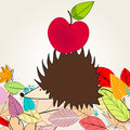 Cute autumn illustration with hedgehog and apple Royalty Free Stock Image