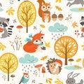 Cute autumn rainy pattern Royalty Free Stock Photo