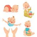 Cute babies in cartoon style