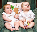 Cute babies on chair Royalty Free Stock Photo