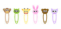 Cute baby animals safety pins, pins with animals, cartoon animals pins, vector illustration Royalty Free Stock Photo