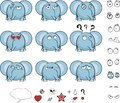Cute baby ball little elephant cartoon expressions set Royalty Free Stock Photo